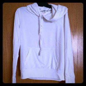 VS PINK white/hot pink hoodie; size Medium